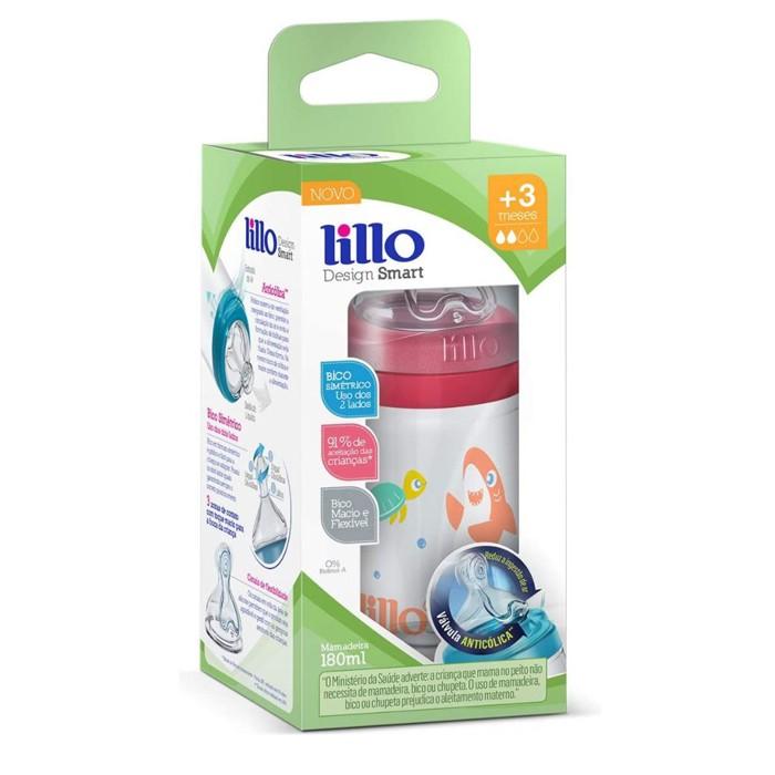 Mamadeira Lillo Smart 180ml Antivazamento Anticolica Rosa 3+ meses
