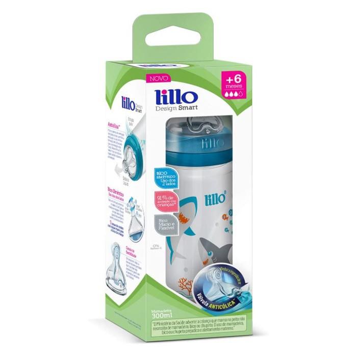 Mamadeira Lillo Smart 300ml Antivazamento Anticolica Azul 6+ meses