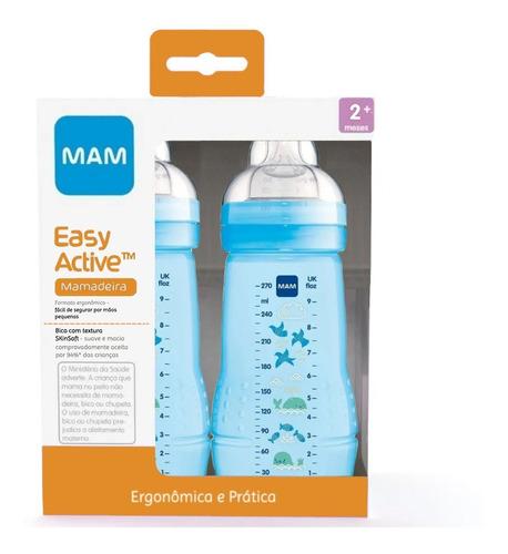 Mamadeira Mam Menino Azul Easy Active 270/270ml 2+ Meses