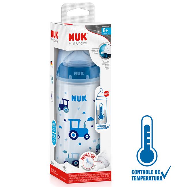 Mamadeira Nuk First Choice 360ml Controle Temperatura Azul