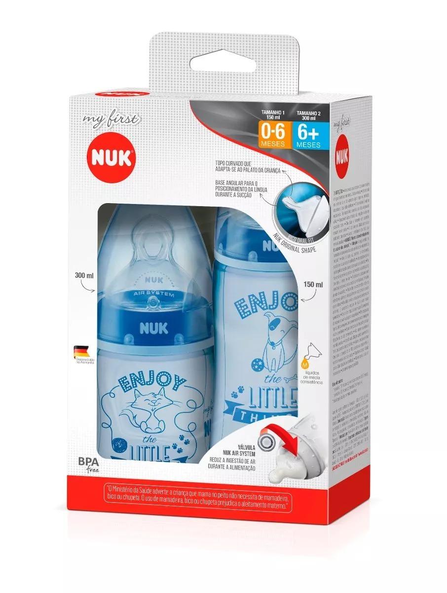 Mamadeira Nuk Menino 0 A 6 E 6+ Meses 150/300ml My First Azul