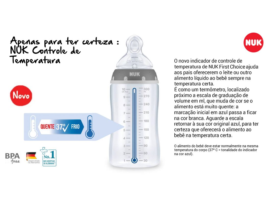 Mamadeira Nuk Menino 6+ Meses 300 E 360ml Controle Temperatura Azul