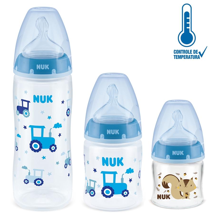 Presente Cha Bebe Menino 3 Mamadeiras + 3 Chupetas + Aspirador Nuk Azul 0+m