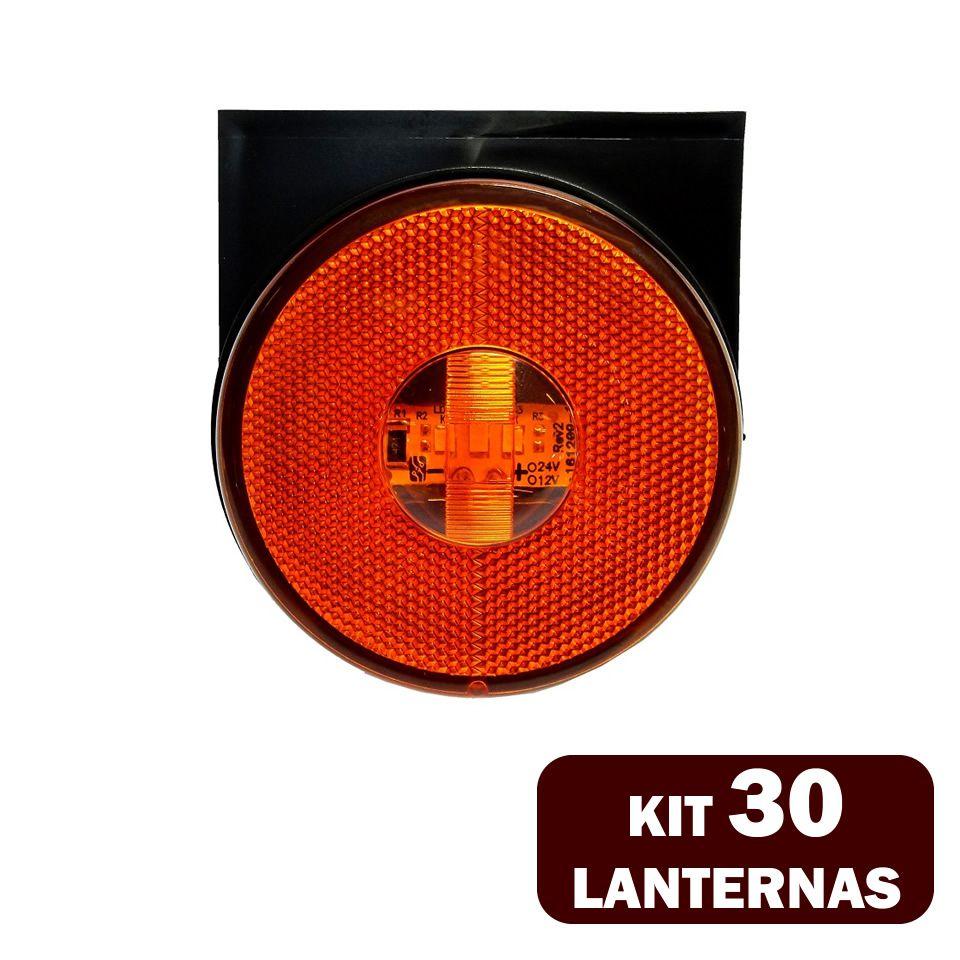 30 Lanternas Lateral LED Caminhão Carreta C/Suporte Amarela