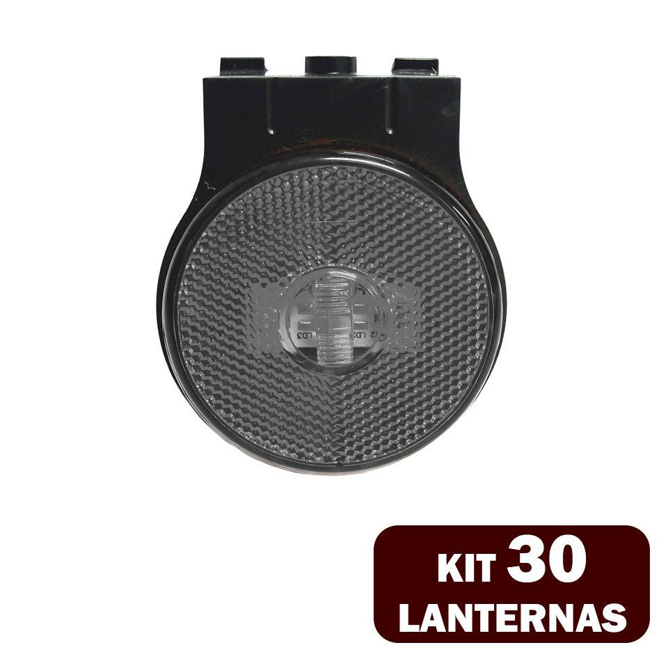 30 Lanternas Lateral LED Caminhão Carreta C/Suporte Cristal