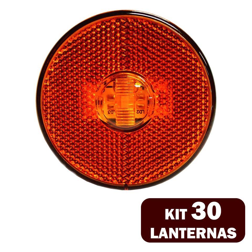 30 Lanternas Lateral LED Caminhão Carreta S/Suporte Amarela