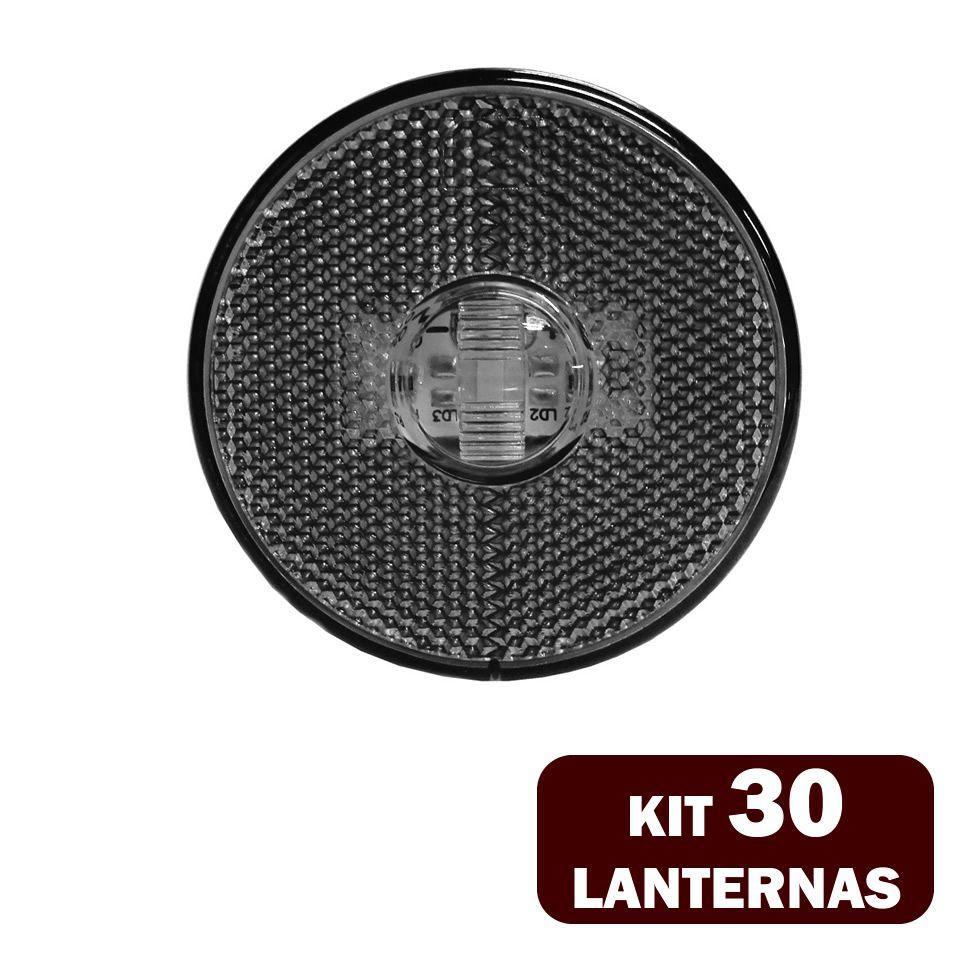 30 Lanternas Lateral LED Caminhão Carreta S/Suporte Cristal
