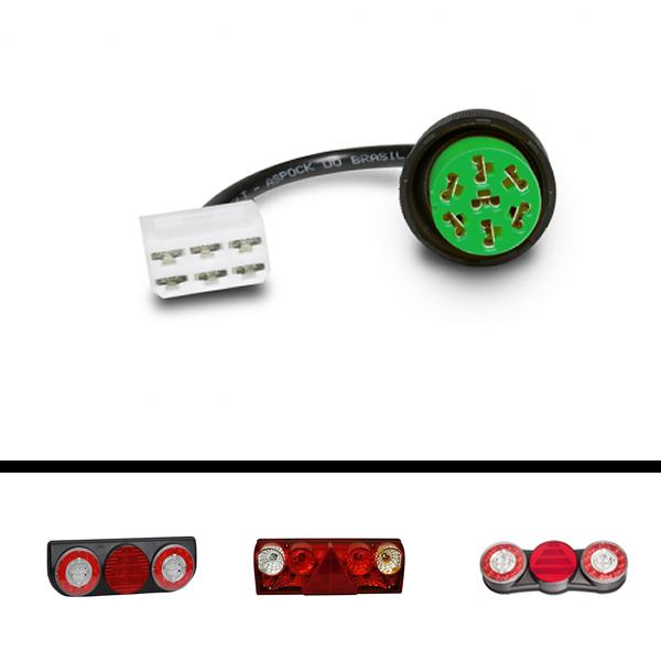 Chicote Conector Lanterna Traseira Facchini Braspoint Aspock Original Direito