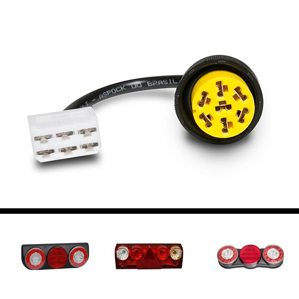 Chicote Conector Lanterna Traseira Facchini Braspoint Aspock Original Esquerdo