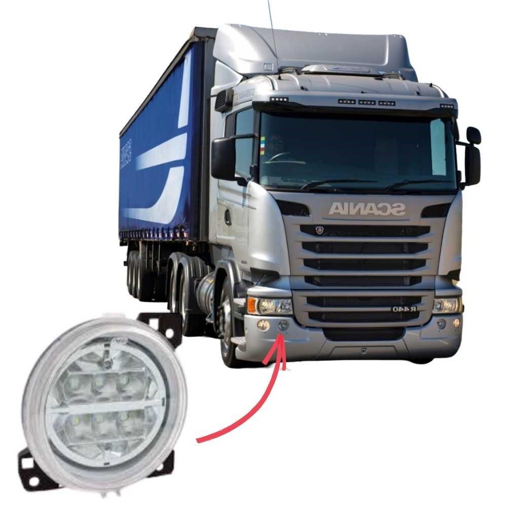 Farol Auxiliar Milha Interno LED Scania Série 5 S5 PGR P G R Direito