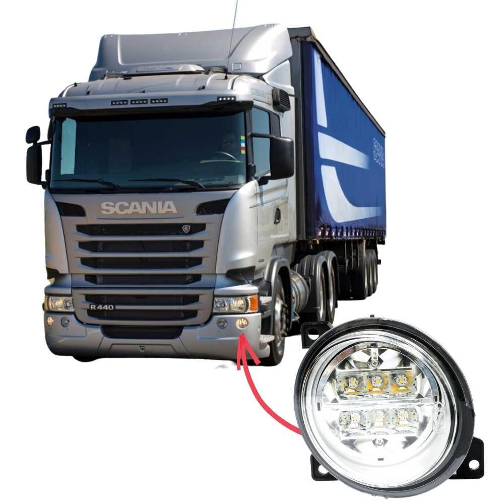 Farol Auxiliar Milha LED Scania Série 5 S5 PGR P G R Lado Esquerdo