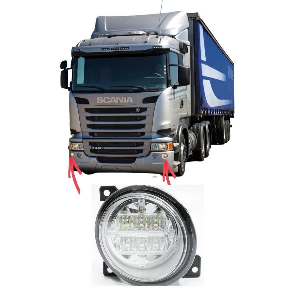 Farol Auxiliar Neblina LED Scania Série 5 S5 PGR P G R Lado Esquerdo
