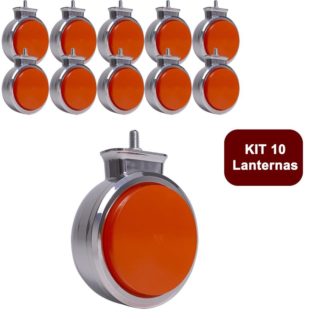 Kit 10 Lanterna Bojuda Foguinho Maria LED Cromada Bivolt Amarela