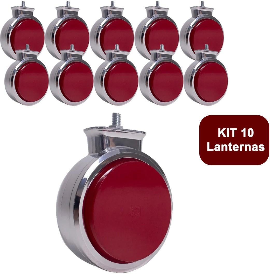 Kit 10 Lanterna Bojuda Foguinho Maria LED Cromada Bivolt Vermelha