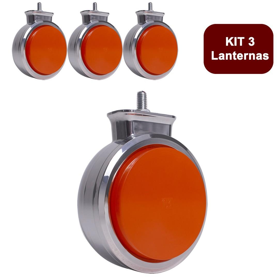 Kit 3 Lanterna Bojuda Foguinho Maria LED Cromada Bivolt Amarela