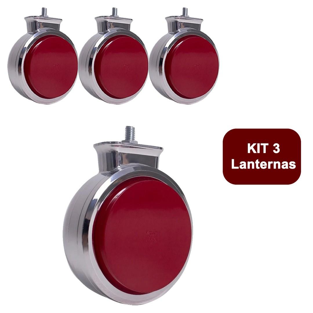 Kit 3 Lanterna Bojuda Foguinho Maria LED Cromada Bivolt Vermelha