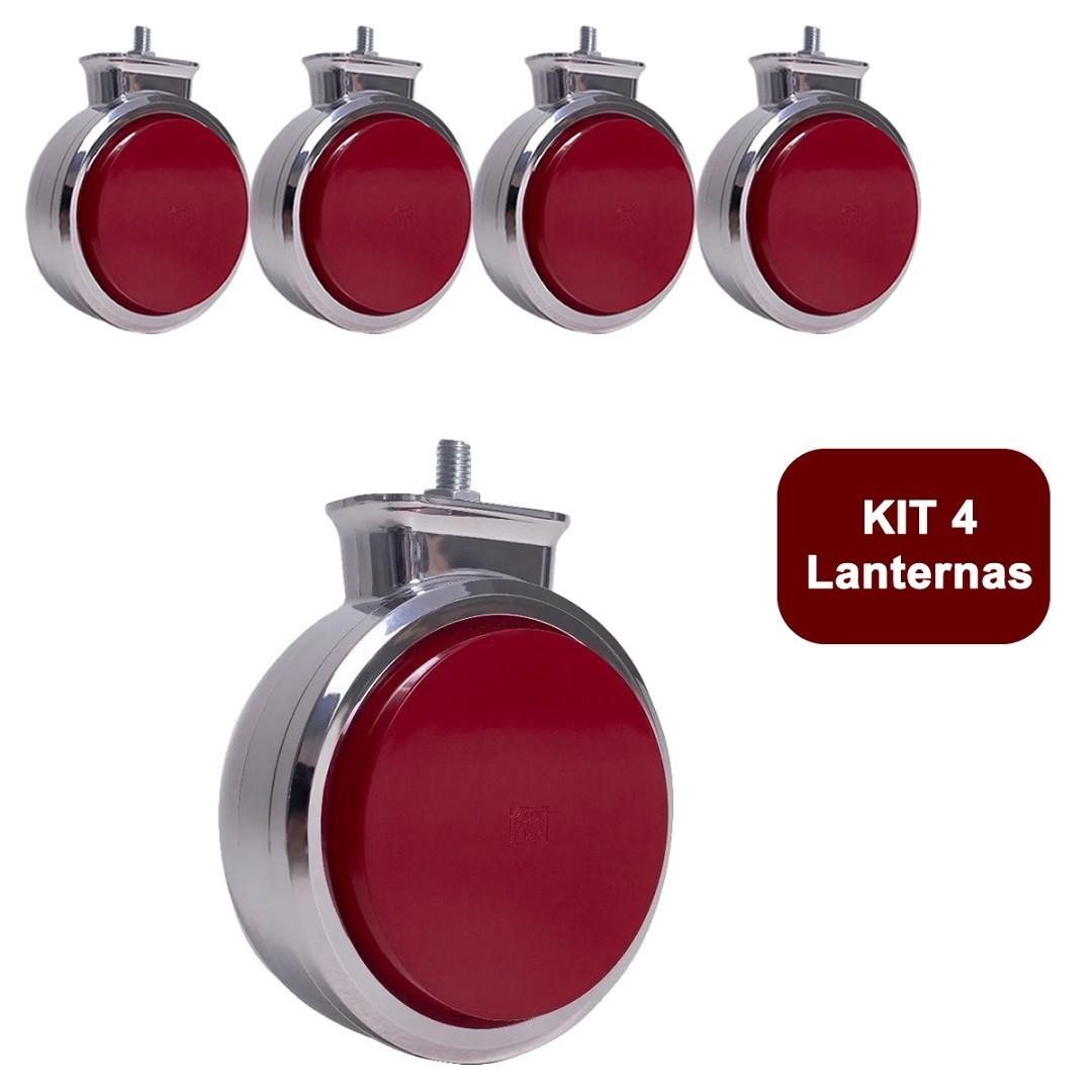 Kit 4 Lanterna Bojuda Foguinho Maria LED Cromada Bivolt Vermelha