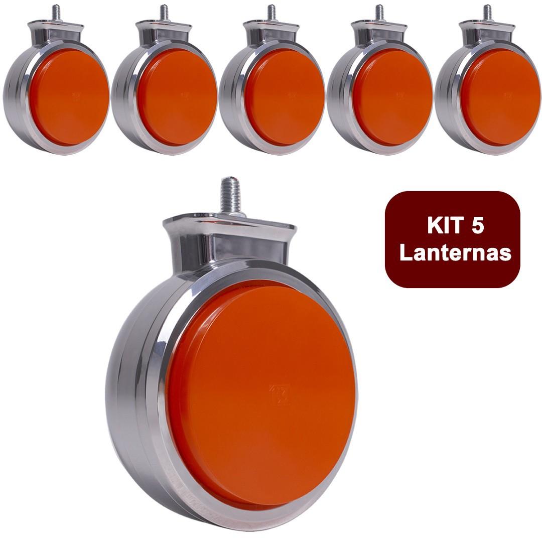 Kit 5 Lanterna Bojuda Foguinho Maria LED Cromada Bivolt Amarela