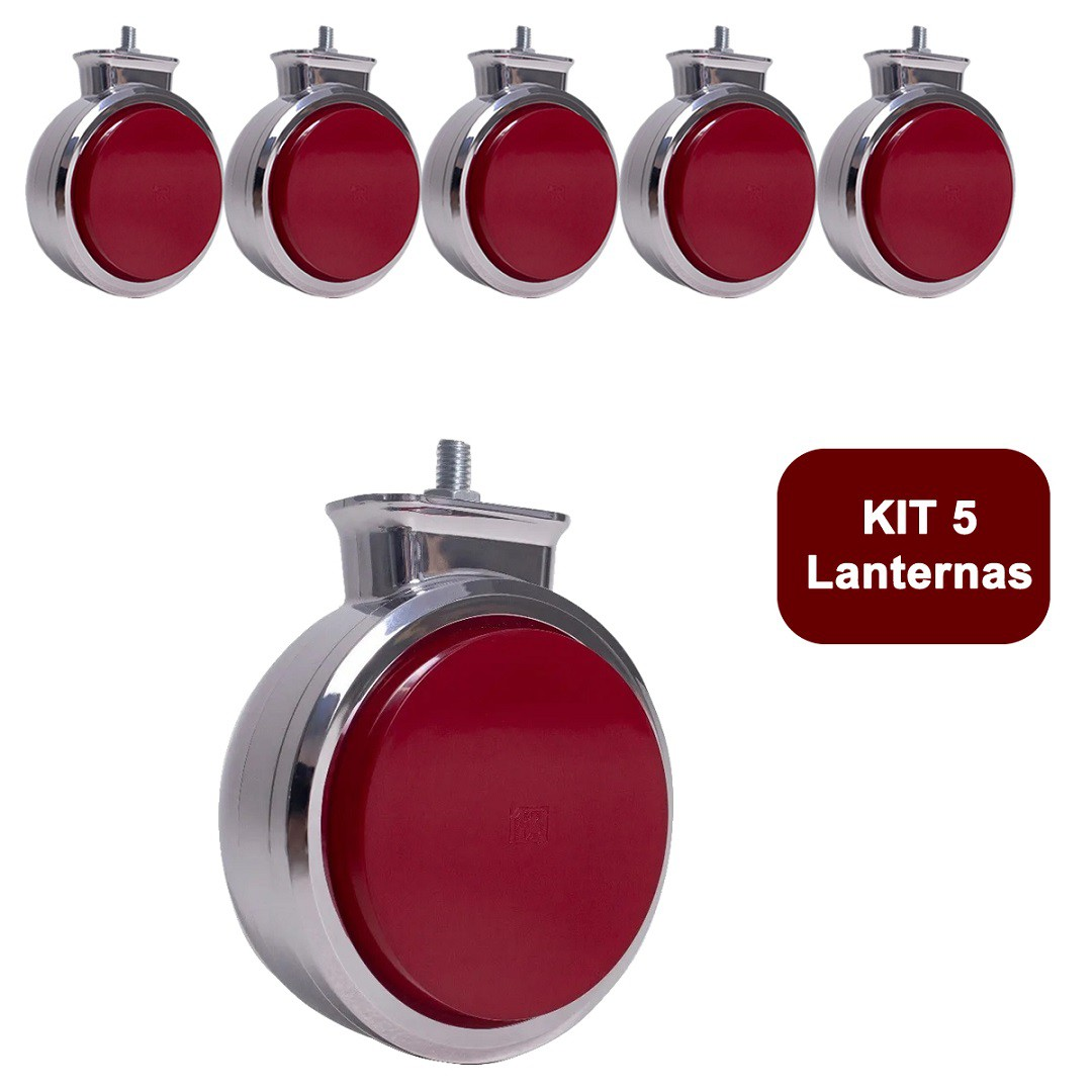 Kit 5 Lanterna Bojuda Foguinho Maria LED Cromada Bivolt Vermelha