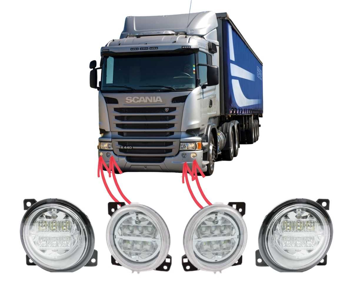 Kit Farol Auxiliar Milha Neblina Scania Serie 5 S5 LED