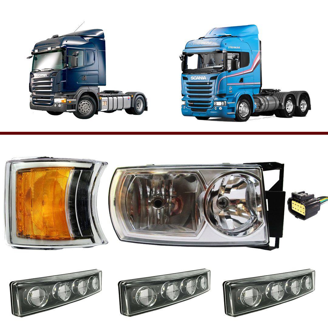 Kit Farol Scania S5 Série 5 Direito + 3 Lanternas Tapa Sol