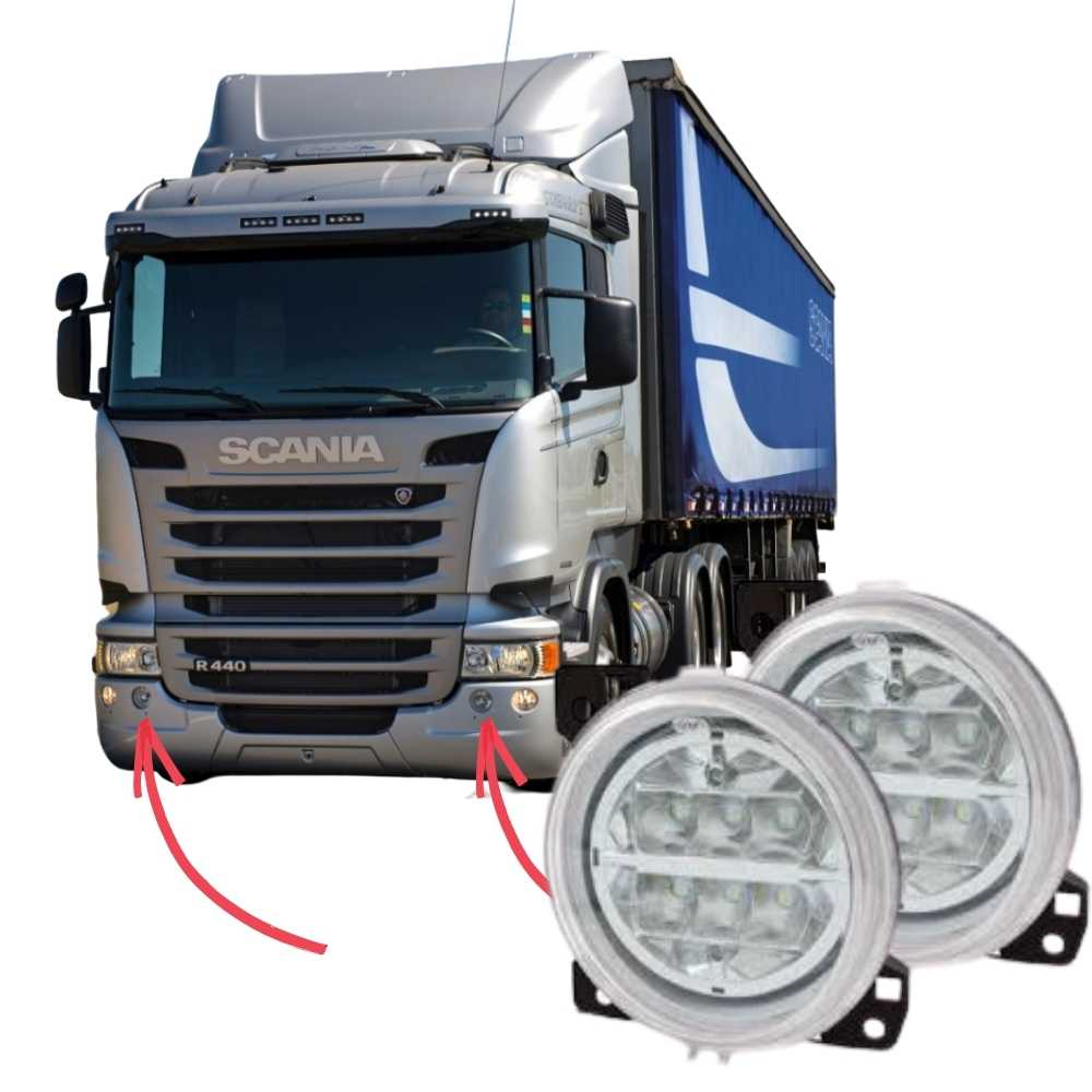 Par Farol Auxiliar Milha Interno LED Scania Série 5 S5 PGR P G R