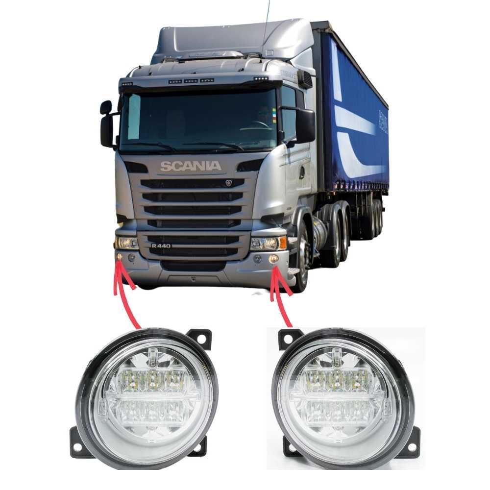 Par Farol Auxiliar Neblina LED Scania Série 5 S5 PGR P G R