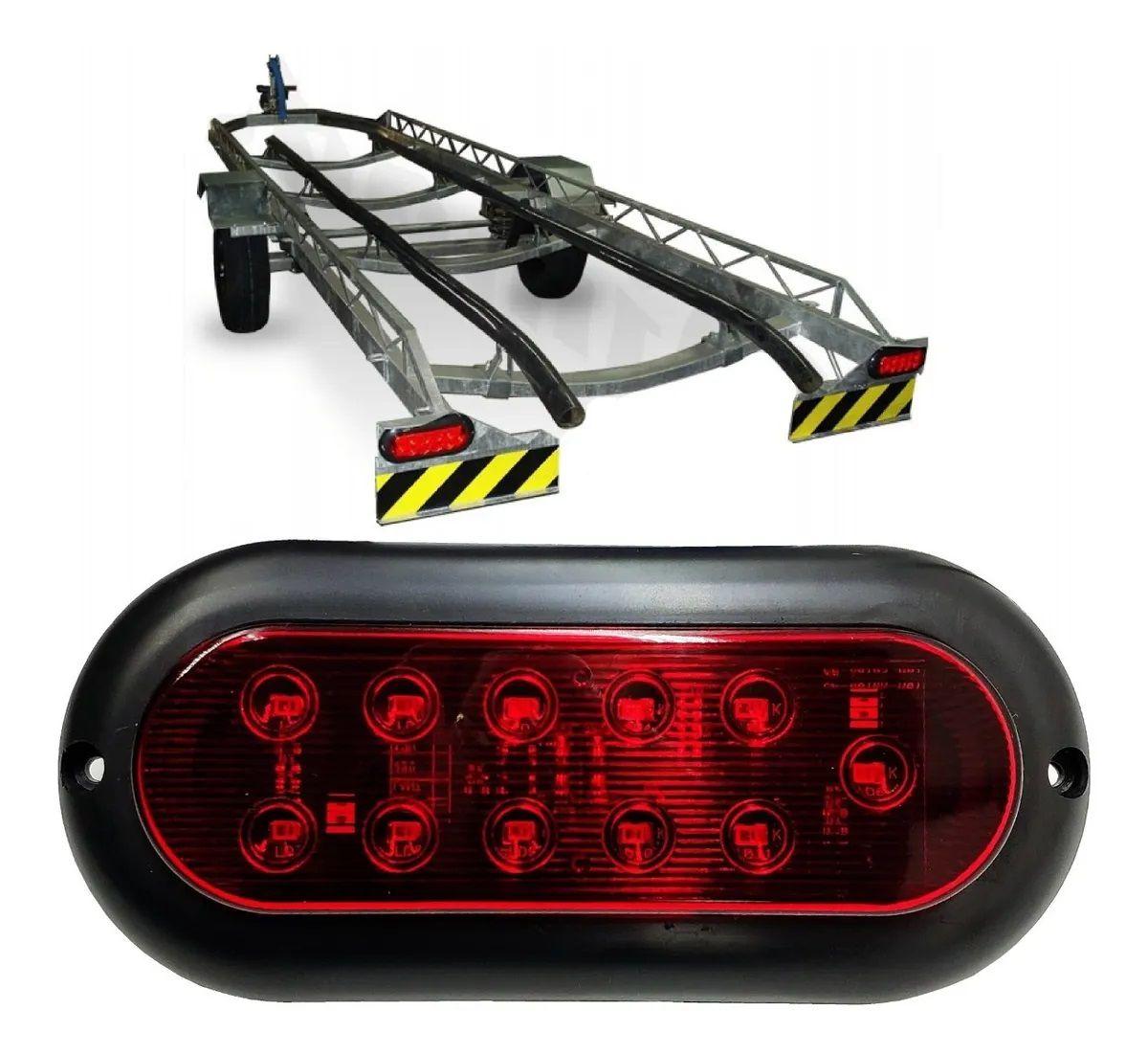 Lanterna Carreta Carretinha Reboque Jet Barco Vermelha 12V