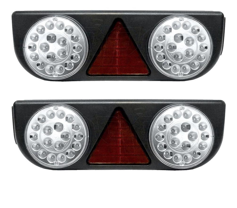 Par Lanterna Traseira Implementos Rodolinea Schiffer Gotti Rodofort Braspoint 3 III Cristal LED 24V