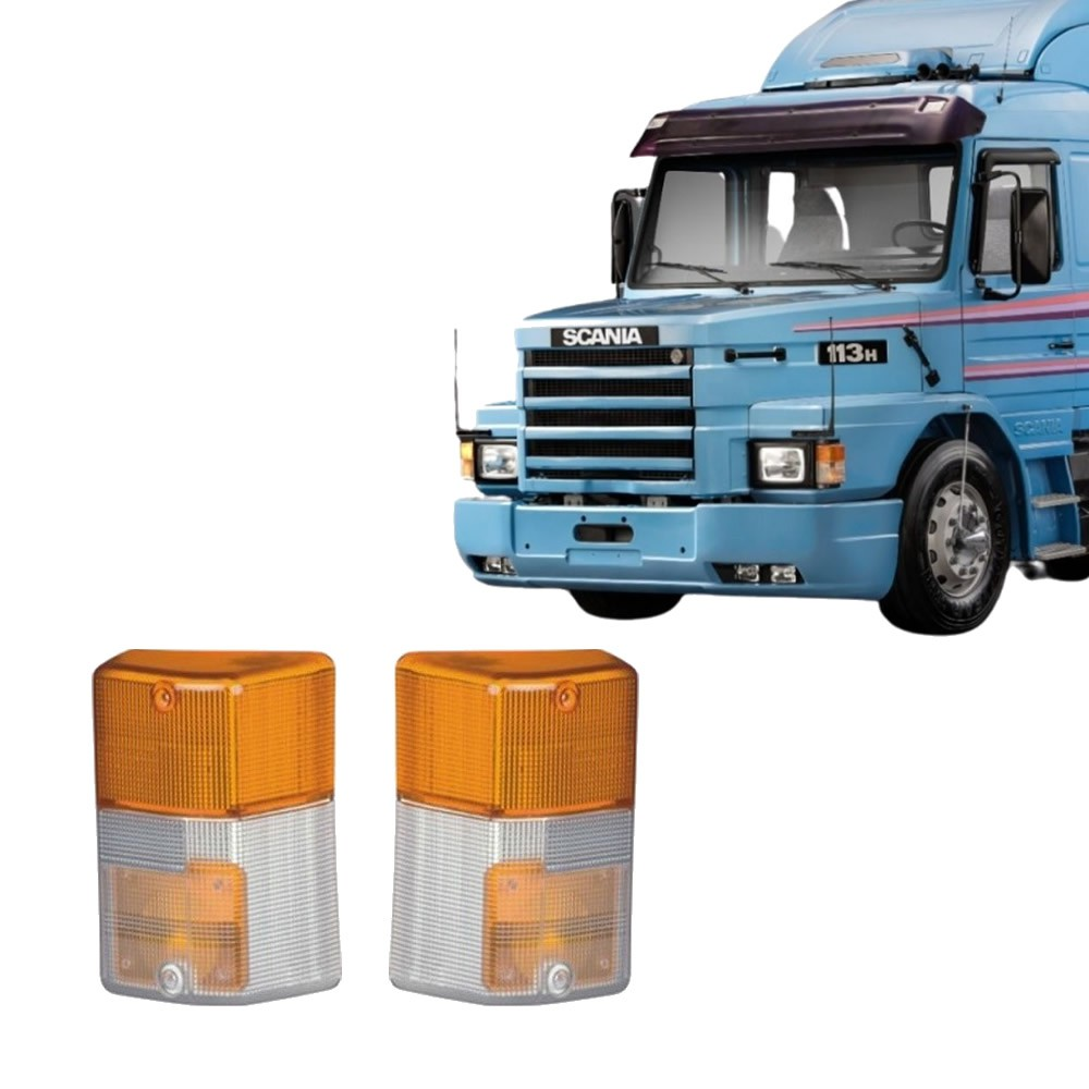 Par Lente Pisca Caminhao Scania T/R 112 113 142 143 Bicolor