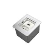 Caixa Univ. Quadrada 1 Tomada 1 USB Charger c/ Fundo Branco