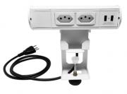 Estação Móvel - Torre de Tomada Portátil - Elétrica + USB - Branco - Bivolt
