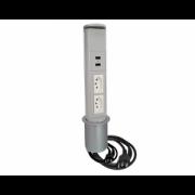 Torre Tomada Mini Totem Manual 2 Tomadas 10A + 2 USB - Cinza