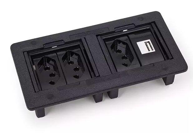 Caixa de Embutir para 4 Blocos - Preto (Não acompanha bloco)