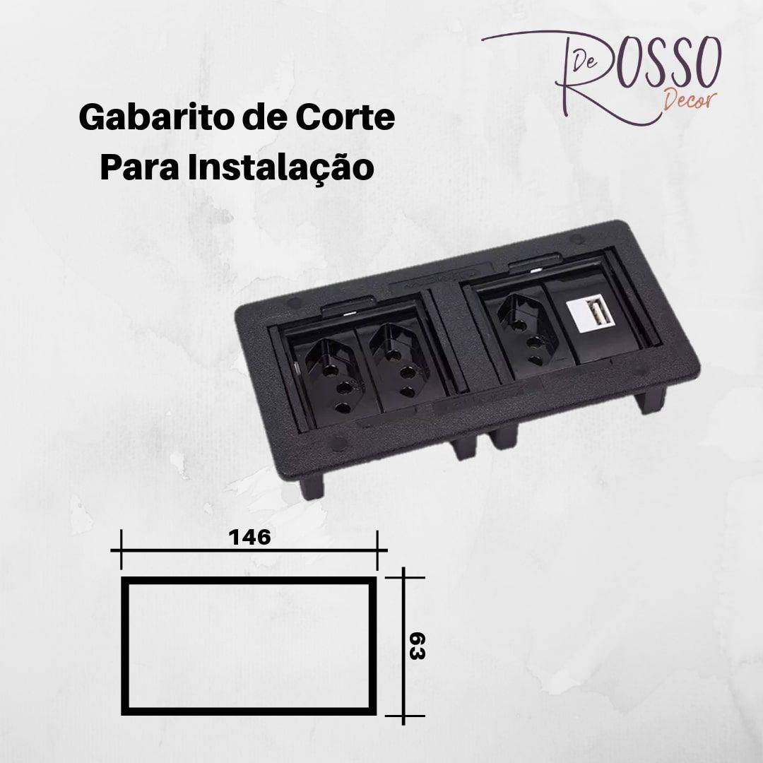 CAIXA DE EMBUTIR PARA 4 BLOCOS - PRETO (SEM BLOCOS)
