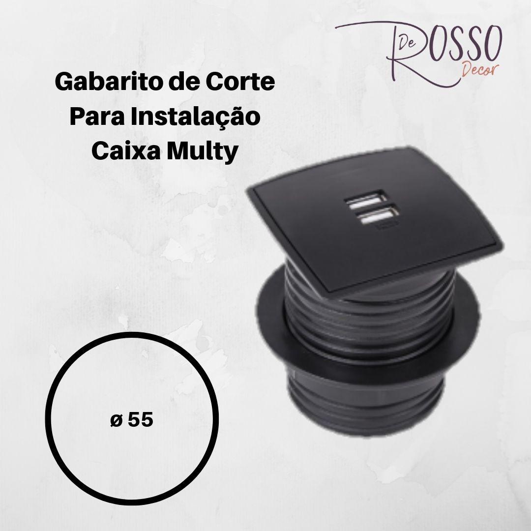Caixa Multy com 2 USB 5V 2.1A - Prata