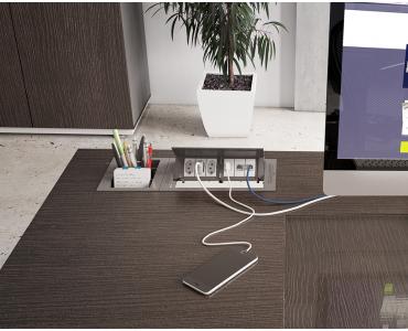 Caixa Tomada Office Standard P/ 6 Bl S/Compartimento - Prata
