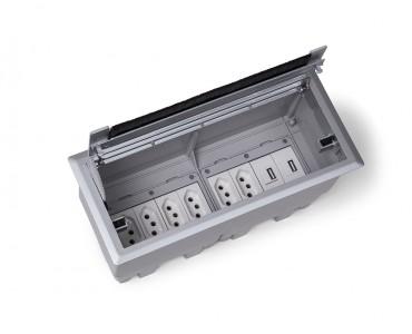 Caixa Tomada Openbox ABS  8BL 3EL/2BC/3BL-RJ45-KEY - Cinza