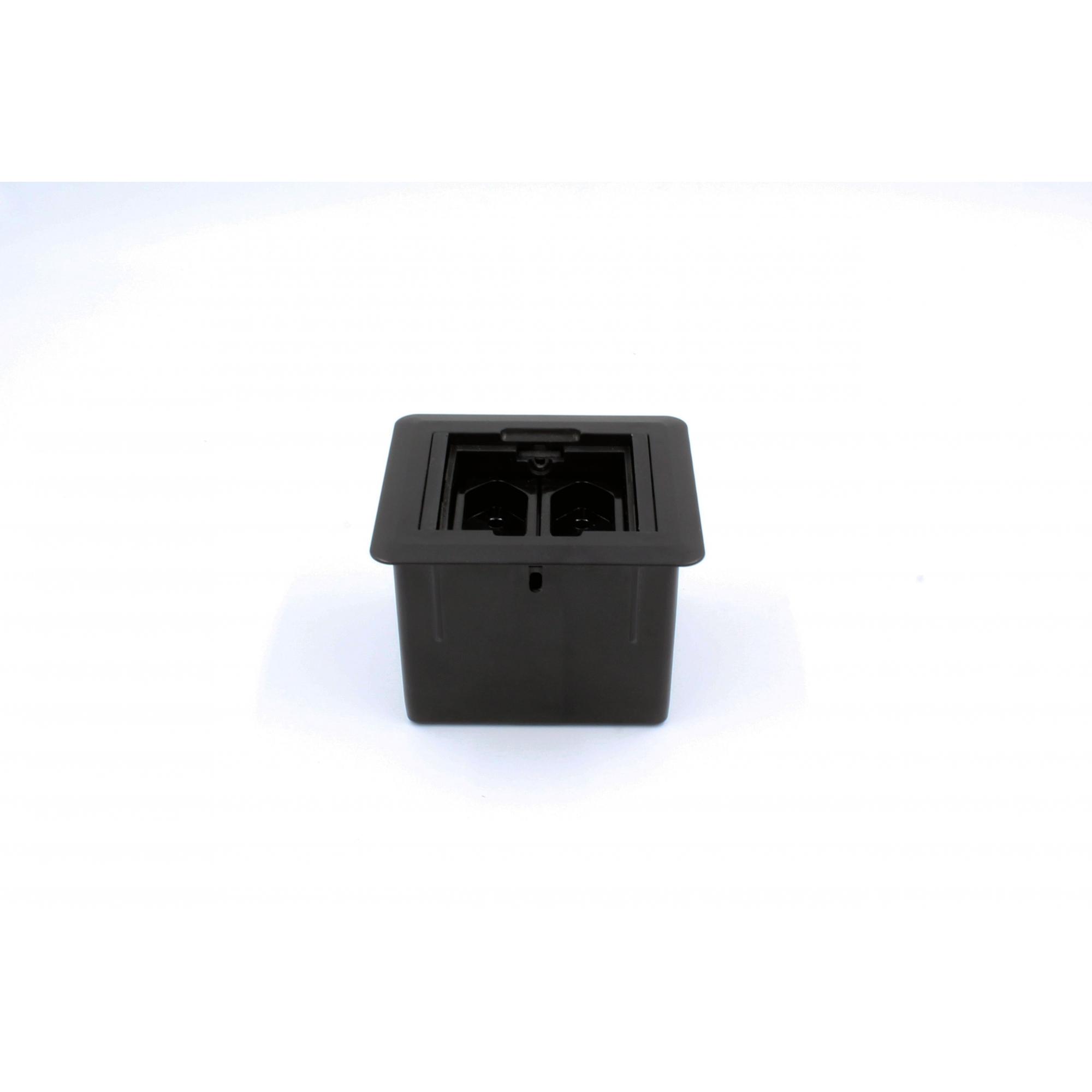 Caixa Universal Quadrada 2 blocos Com Fundo - Preto (Vazia)