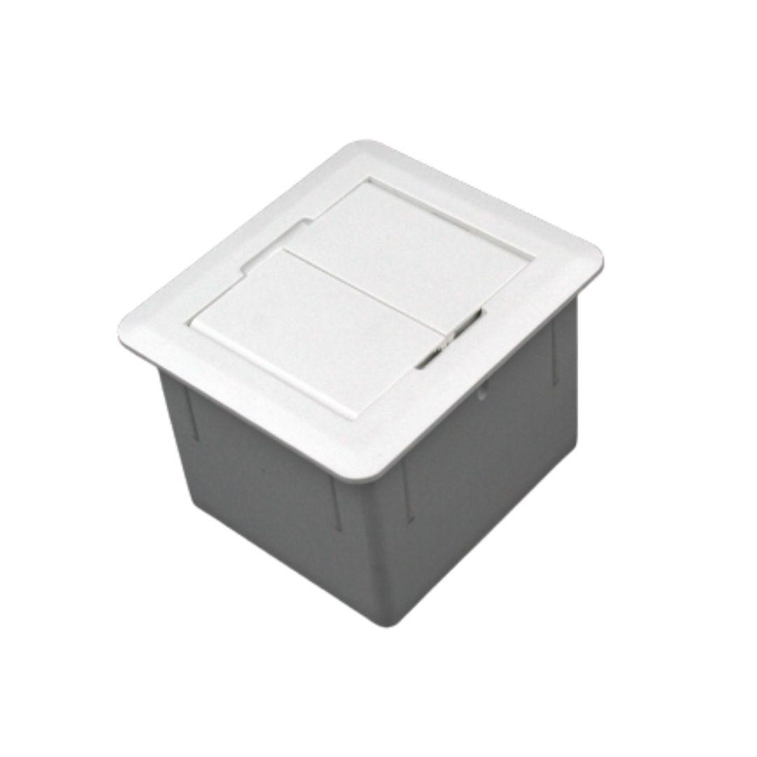 Caixa Universal Quadrada 2 Tomadas c/ Fundo - Branca