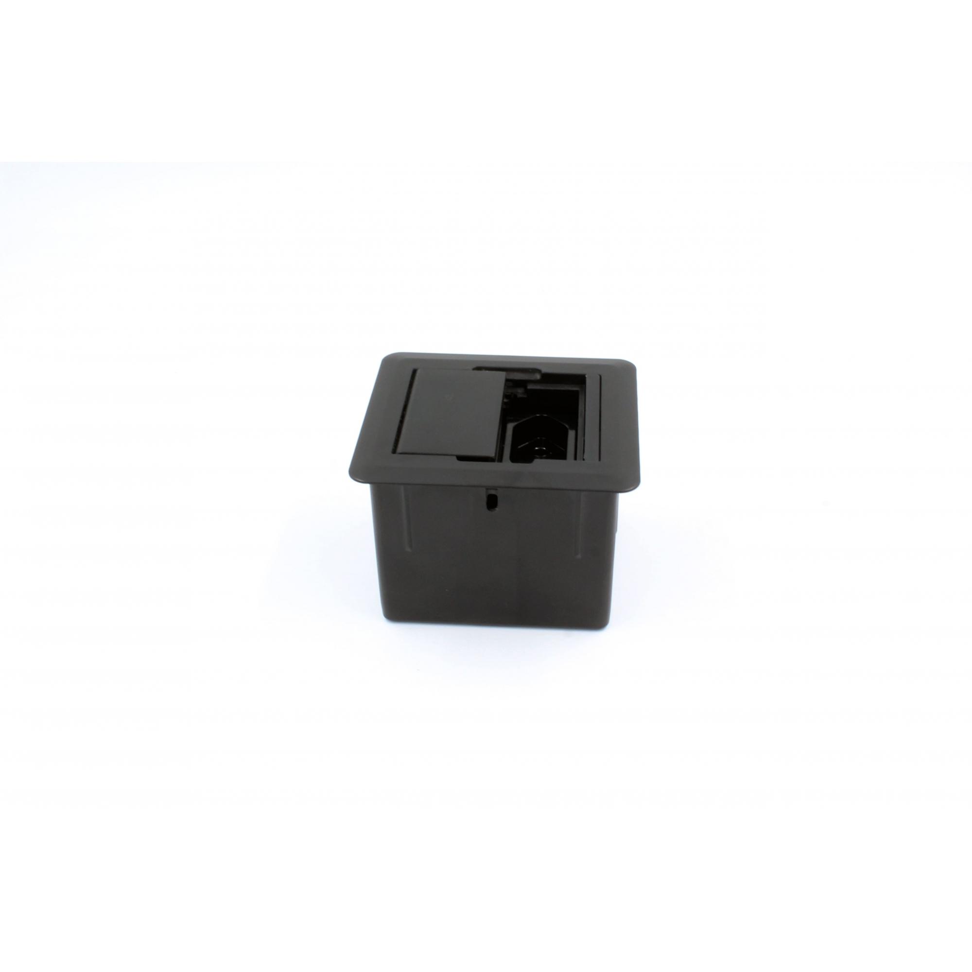 Caixa Universal Quadrada 2 Tomadas c/ Fundo - Preto
