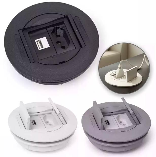 Caixa Universal Redonda ABS 2 blocos - Prata (sem blocos)
