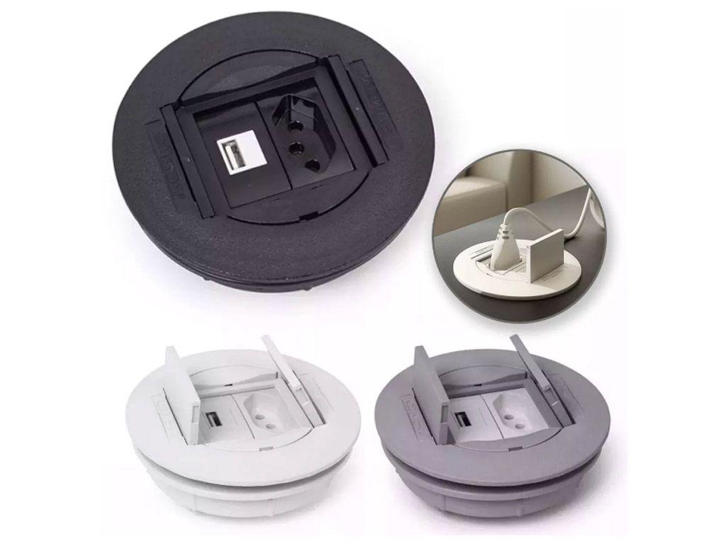 Caixa Universal Redonda em ABS para 2 blocos - Branco (sem blocos)