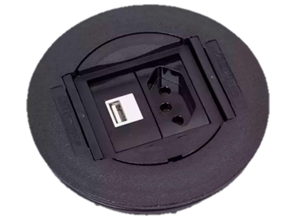 Caixa Universal Redonda em ABS para 2 blocos - Preto (sem blocos)