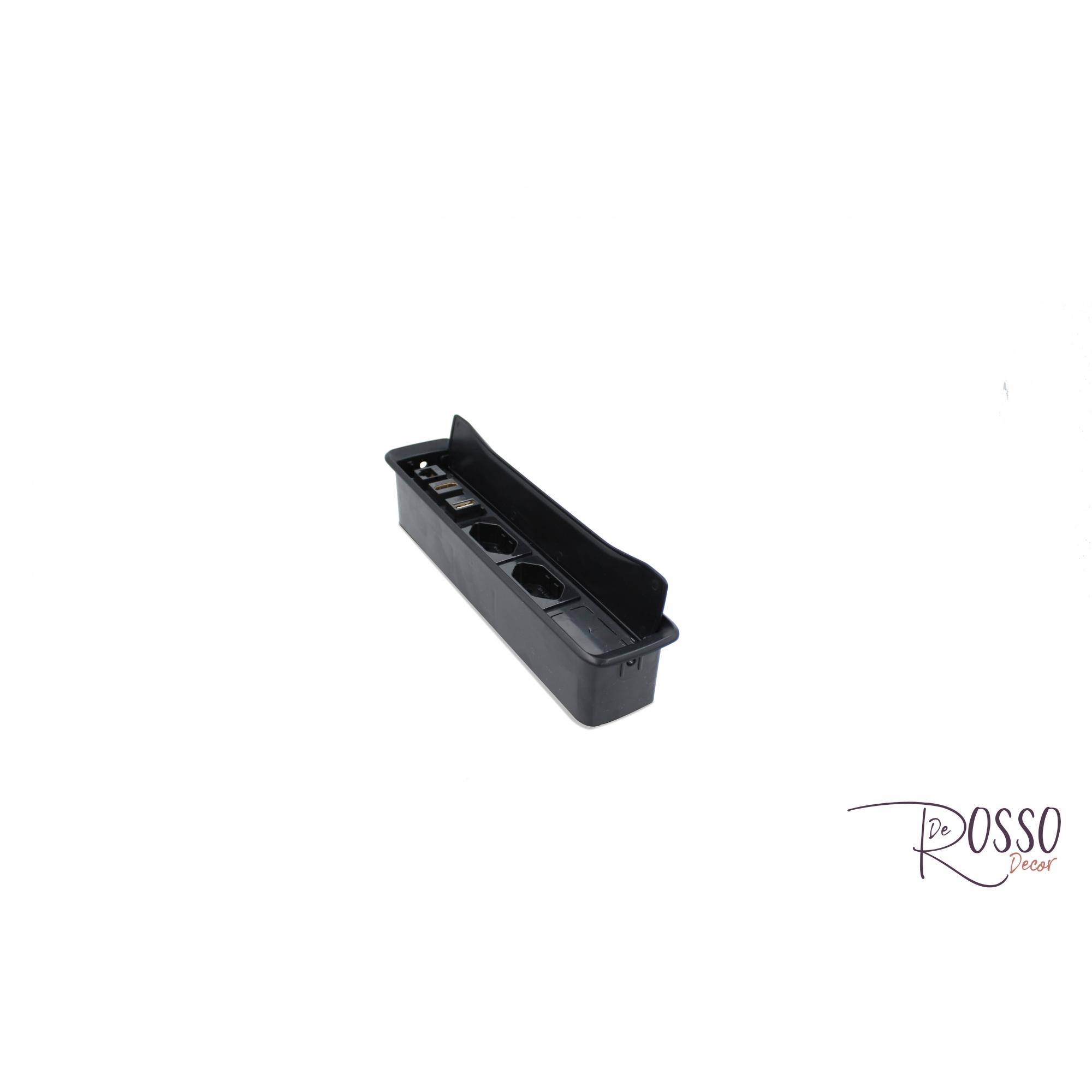 CX MESA NEW SLIM COM 3 TOMADAS 10/20A - PRETO