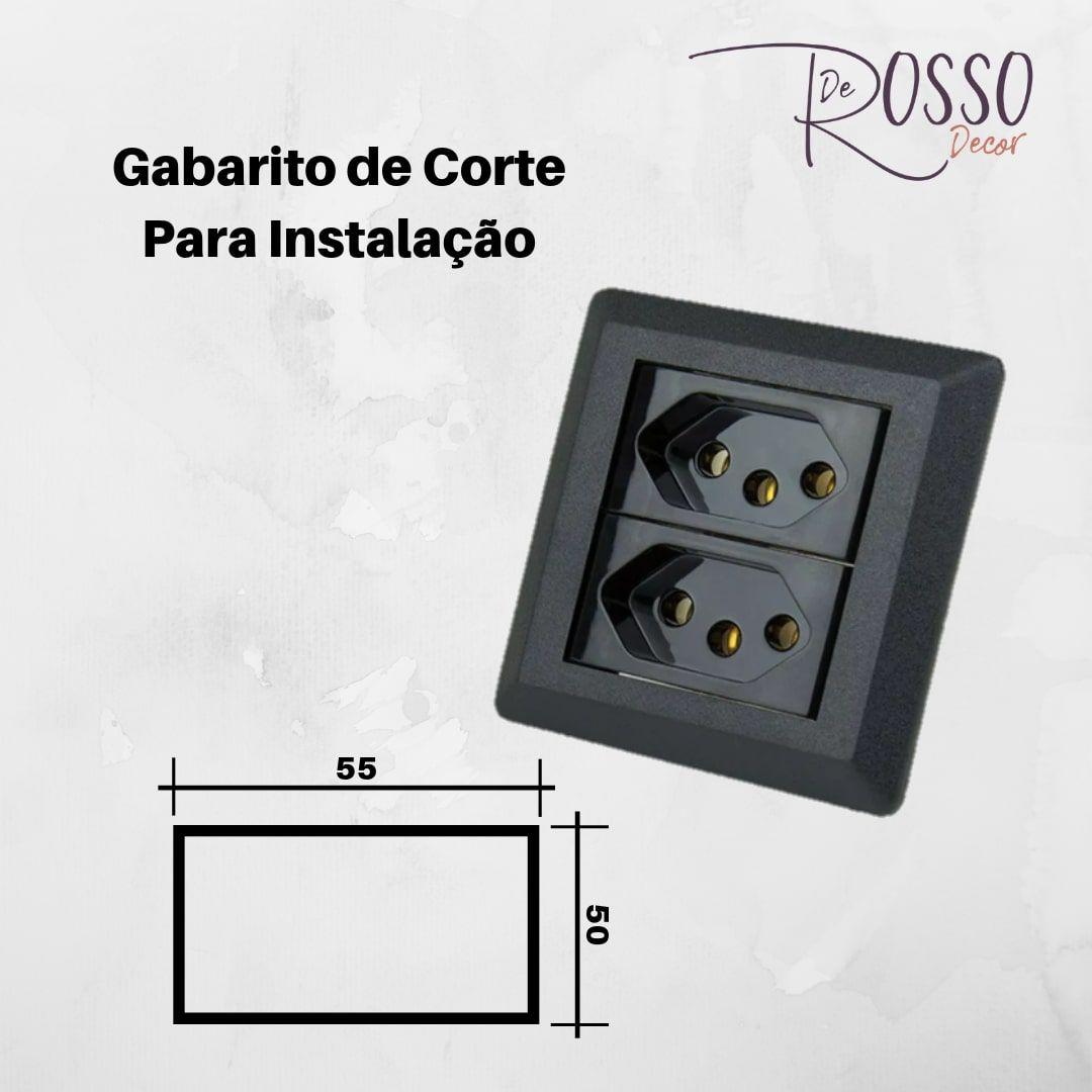 Mini Espelho Série 200 -  2 Blocos Preto (Não Acompanha Bloco)