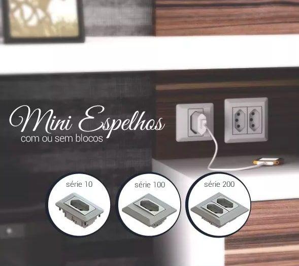 MINI ESPELHO SERIE 200 - PRETO (SEM TOMADAS)