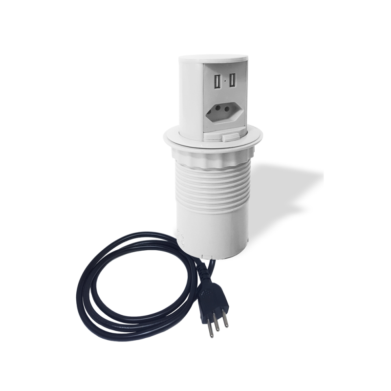 MINI TOTEM MANUAL POP 1TOM NBR 10A+ 2USB - BRANCO