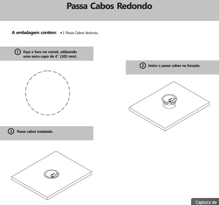 Passa Cabos Facility Redondo - Preto