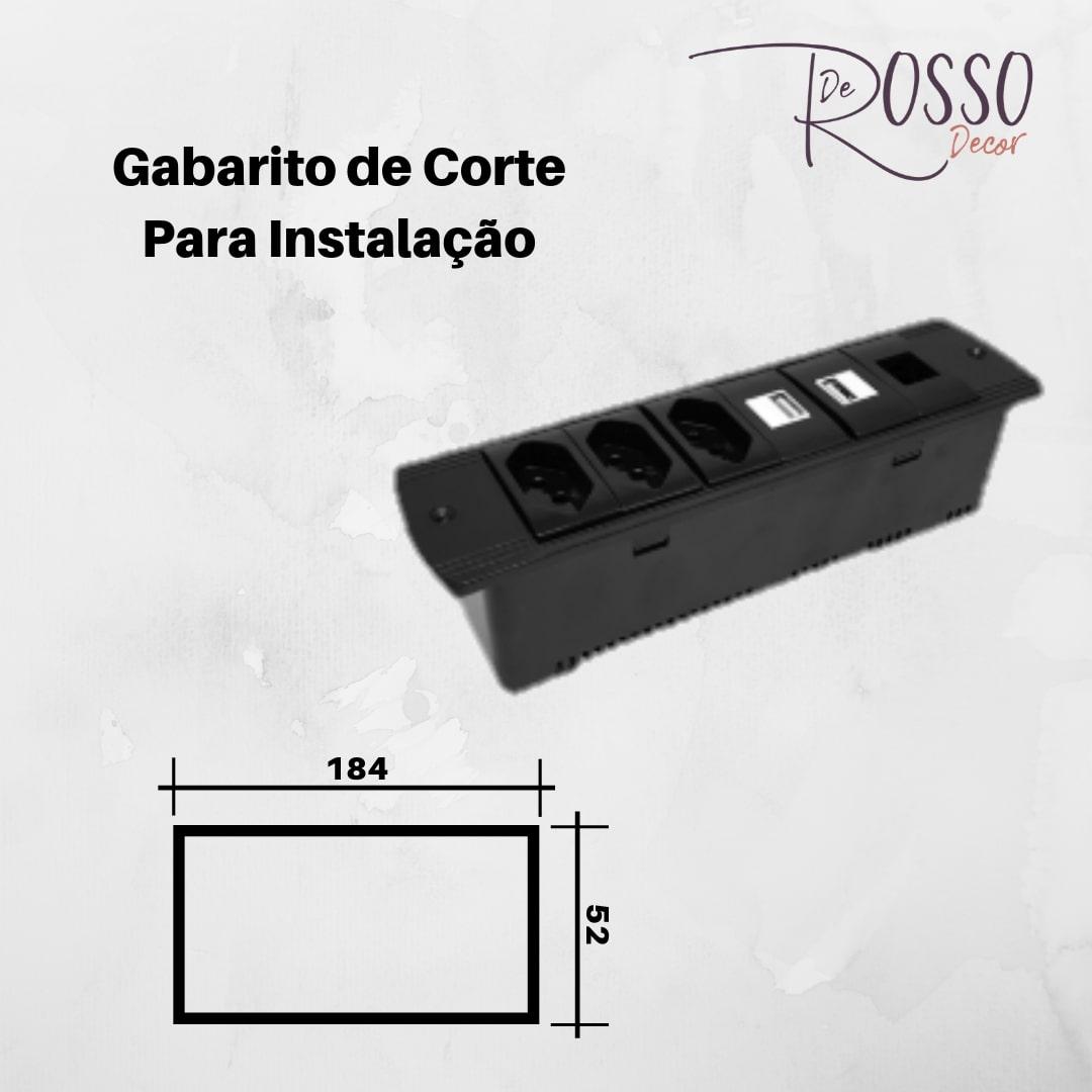 Régua de Caixa Série 210 para 6 Blocos - Preto (sem blocos)